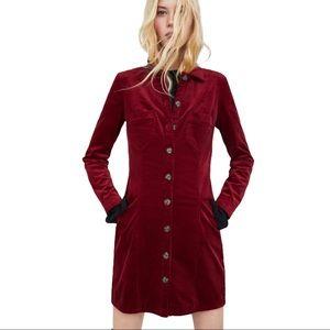 ZARA Corduroy long sleeve button down dress
